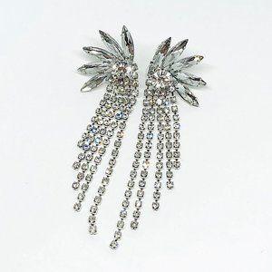 New! Cubic Zirconia Statement Earrings Silver